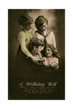 Four Children on a Birthday Postcard Giclee Print