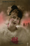 Young Woman in White Fur on a Birthday Postcard Photographic Print