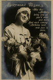 Young Woman with Flowers on a Birthday Postcard Photographic Print