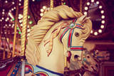 Merry-Go-Round Wooden Horses Toned with a Retro Vintage Instagram Filter Effect Photographic Print by  graphicphoto