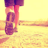 An Athletic Pair of Legs on a Dirt Path during Sunrise or Sunset - Healthy Lifestyle Concept Toned Posters by  graphicphoto