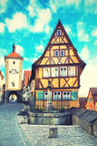 Old Street in Rothenburg Ob Der Tauber, Bavaria, Germany. Instagram Style Filter Photographic Print by  Zoom-zoom