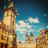 Tyn Cathedral Church and Famous Astronomical Clock, Prague, Czech Republic . Instagram Effect Photographic Print by  scorpp