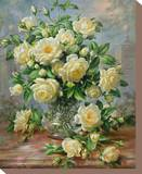 Princess Diana Roses in a Cut Glass Vase Stretched Canvas Print by Albert Williams