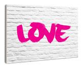 Love Graffiti On White Brick Wood Sign