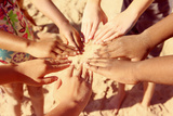 Multicultural Childrens Hands in a Circle. Instagram Effect Photographic Print by  soupstock