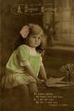 Little Girl in Green Dress on Birthday Postcard Photographic Print