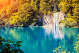 Majestic View on Waterfall with Turquoise Water and Sunny Beams in Plitvice Lakes National Park. Fo Photographic Print by Leonid Tit