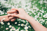 Lovers Holding Hands on Spring Flowers Field Photographic Print by  Dirima