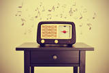 An Antique Radio Receptor on a Desk and Musical Notes, with a Retro Effect Posters by  nito