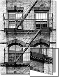 Fire Escape, Stairway on Manhattan Building, New York, United States, Black and White Photography Prints by Philippe Hugonnard