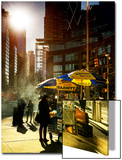 Urban Scene with Hotdog Vendors at Columbus Circle Poster av Philippe Hugonnard