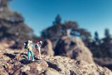 Miniature Hikers with Backpacks Reproduction photographique par  Kirill_M