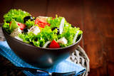 Greek Salad. Mediterranean Salad with Feta Cheese, Tomatoes and Olives. Healthy Fresh Vegetarian Fo Photographic Print by Subbotina Anna