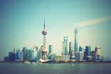 Panoramic View of Shanghai Skyline, China. Retro Style Image Photographic Print by  Zoom-zoom