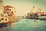 Venice, Italy. Grand Canal and Basilica Santa Maria Della Salute in the Afternoon. Vintage, Retro S Photographic Print by PHOTOCREO Michal Bednarek