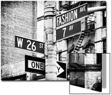 Signpost, Fashion Ave, Manhattan, New York City, United States, Black and White Photography Posters by Philippe Hugonnard