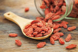 Tibetan Goji Berries (Wolfberry) Spilling of the Glass Jar on a Wooden Spoon, Selective Focus Posters by  PixelsAway