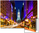 City Hall and Avenue of the Arts by Night, Philadelphia, Pennsylvania, United States Poster by Philippe Hugonnard