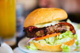 Close up of Delicious Fresh Burger with Cheese and Bacon Reproduction photographique par BlueOrange Studio