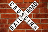 Railroad Crossing Crossbuck Brick Wall Traffic Print Poster Art