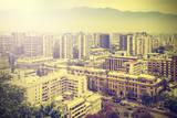 Vintage Picture of Santiago De Chile Downtown. Photographic Print by Maciej Bledowski