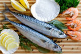 Seafood, Fish - Fresh Mackerel and Shrimps in Cuisine Photographic Print by  Gorilla