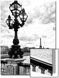 Detail of the Pont  Alexander III bridge - with the Eiffel Tower in the background - Seine River -  Prints by Philippe Hugonnard