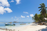 Tropical Island Beach House Boats Idyllic Palm Tree Lagoon Seychelles Photographic Print by  fotoVoyager