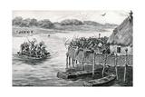 Lake-Dwellers Attacked Reproduction procédé giclée par G.F. Scott Elliot