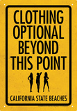 Clothing Optional Tin Sign Tin Sign