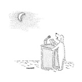 A dog stands at a podium, and reads a speech to the moon. - New Yorker Cartoon Premium Giclee Print by Robert Mankoff