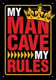 Man Cave Rules Tin Sign Plaque en métal