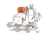 A barber shows a smiling jack-o-lantern the back of his head, which is fro… - New Yorker Cartoon Premium Giclee Print by Bob Eckstein