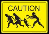 Caution Zombies Tin Sign - Metal Tabela
