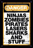 Danger Stuff Tin Sign - Metal Tabela