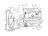 Adam and Eve encounter an apple food-truck, with the Serpent as the chef. - New Yorker Cartoon Premium Giclee Print by Mick Stevens