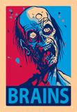 Zombie Brains Tin Sign - Metal Tabela