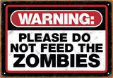 Zombie Warning Tin Sign - Metal Tabela