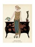 Elegant Woman in Visiting Dress 1922 Lámina giclée por Barbier, Georges