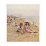 Sandown Beach Children Giclee Print by Helen Allingham