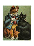 Mother Hubbard, Feed Cat Premium Giclee Print by Harrison Weir