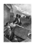Family Flees from Tornado, 1903 Giclee Print by G. Amato