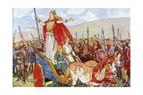 Boudicca with Her Two Daughters Giclee Print by George Morrow