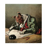 Mother Hubbard, Writing Giclee Print by Harrison Weir