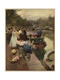 Flower Market Amsterdam Giclee Print by Hans Herrmann