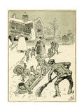 Children Play on their Sledges Giclee Print by Harry Furniss