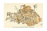 Bus Coach Been over Loaded with Luggage and Children Giclee Print by Harry Furniss
