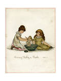 Giving Dolly a Bath Premium Giclee Print by Ida Waugh