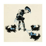 Girl Taking Pet Dogs for a Walk Getting Tangled Up Giclee Print by Honor C. Appleton